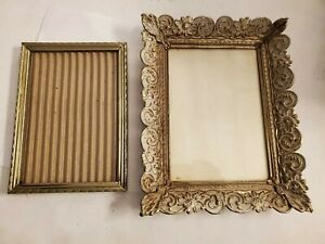 Vintage-photos-Frames-2-pc-Ornaments-Art-Metal-and-gold-color