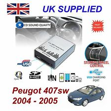 Peugeot 407sw MP3 SD USB CD AUX entrada adaptador de audio digital modulerd 3 cambiador de CD