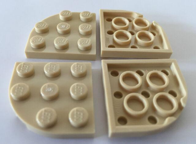New LEGO PLATE Round Corner 3x3 Reddish Brown Lot of 4 Part 30357