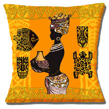African Lady Cushion Cover 16x16 inch 40cm Carrying Pot & Basket Tribal Symbols