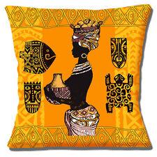 """African TRIBAL Lady Arancio Giallo Marrone Tonalità etniche 16 """"Cuscino Coprire"""
