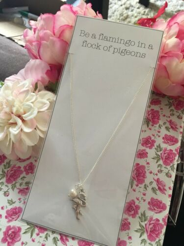 """/""""Be a Flamingo/"""" Motivational Charm /& Pearl Necklace 18/"""" Gift BFF Stocking Filler"""