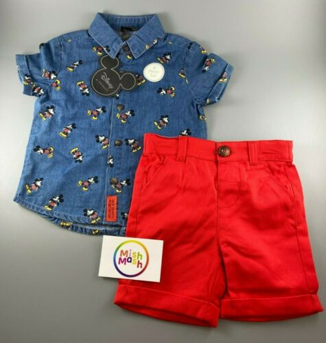baby boys Disney Mickey Mouse summer denim shirt /& red shorts summer gift set