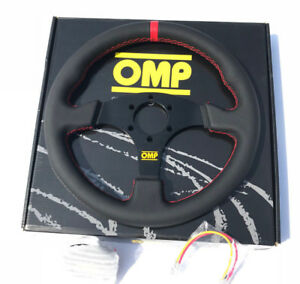 OMP-330mm-Leather-Flat-Style-Steering-Wheel-Racing-Drifting-Rally-Red-Strip