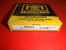 "vintage chainsaw mcculloch nos piston ring set 55124 2.135"" .010 super 250"