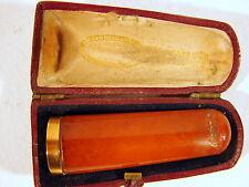 Fume-cigare ambre monture or, pas de poinçon, boîte d'origine cuir