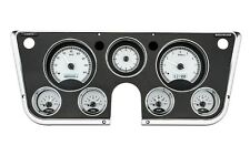 67-72 Chevy Truck C10 Dakota Digital Silver Alloy & White Analog Clock Gauge Kit