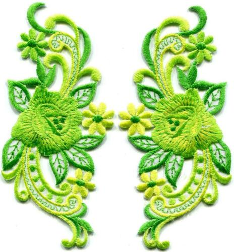 Lime green roses flowers pair retro 60s design applique iron-on patches S-1273