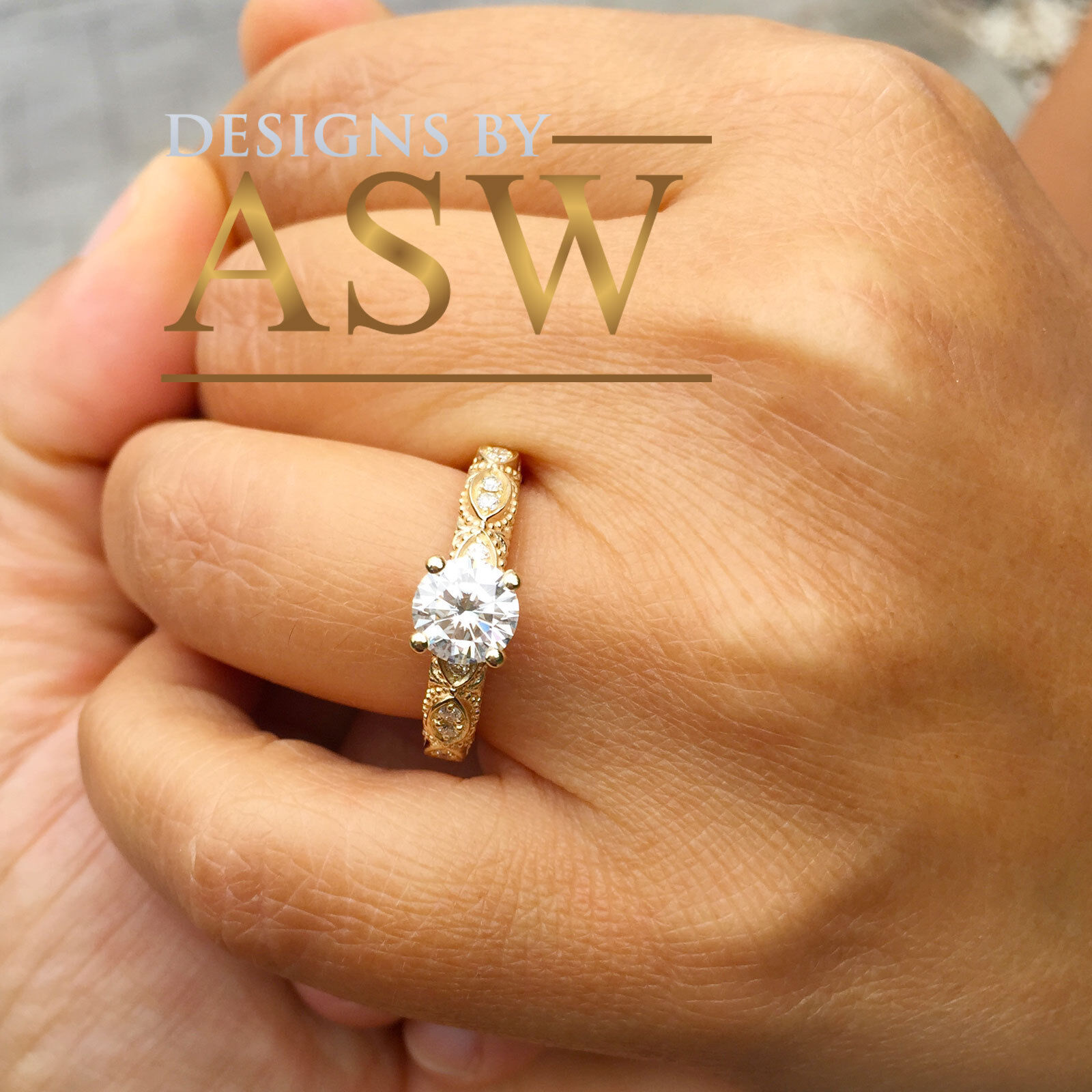14K SOLID YELLOW gold ROUN MOISSANITE AND NATURAL DIAMOND ENGAGEMENT RING1.15CT