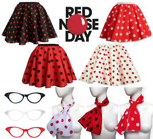 UK-GIRLS-LADIES-RED-NOSE-DAY-COSTUME-Polka-Dot-Skirt-FREE-SCARF-Fancy-Dress