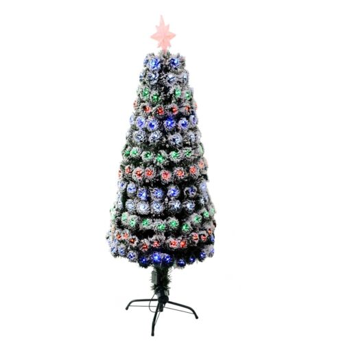 2ft Small Pre Lit LED Fibre Optic Christmas Tree with snow xmas Decoration Tree