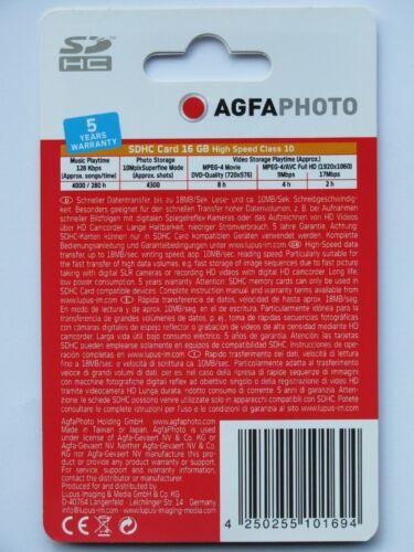 Memory Card mapa 16gb class 10 alta velocidad nuevo Agfa SDHC 005-130 ° 10426 World *