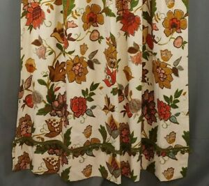 Vtg-Pinch-Pleat-Drapes-2-Panels-24-x-59-Cream-Orange-Avocado-Floral-PomPom-Trim