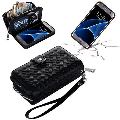 Zipper Detachable Weave Leather  Wallet Case Cover For Samsung Galaxy S7  S7edge