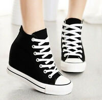 New Womens Lace Up Platform Sneakers Hidden Wedge Canvas High-Top Trainers Shoes