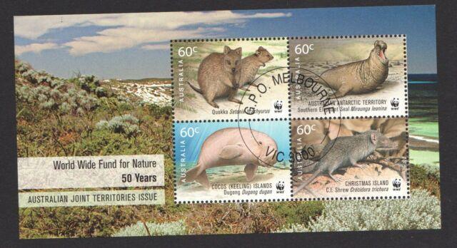 AUSTRALIA 2011 WWF 50 YEARS AUSTRALIA TERRITORIES JOINT ISSUE SOUVENIR SHT USED