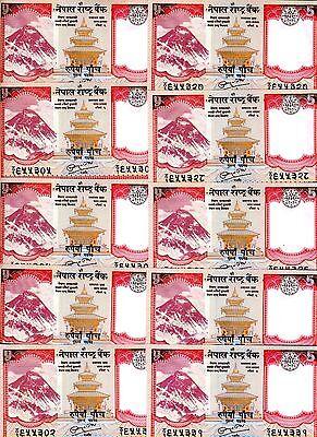 LOT Nepal, 10 x 5 Rupees, (2010) P-New-60, UNC > Yak