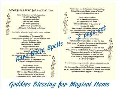 All Purpose Goddess Blessing for Magical Items 2pgs for Spell Book of Shadows