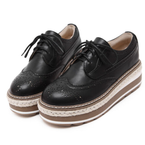 Sliver Women Brogues Wing tip Lace Up Platform Oxfords Dress Creeper Punk Shoes