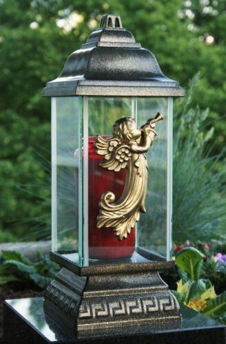 Engel Grablaterne Grablampe Grableuchte Grabschmuck in Bronze inkl Grablicht