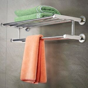 Silver double towel rail holder stainless steel wall for Double towel rails for bathrooms
