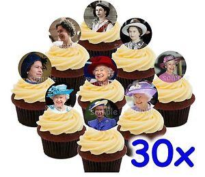 Die-Queen-Koeniginnen-England-Essbar-Tortenaufleger-Party-Deko-Muffinaufleger
