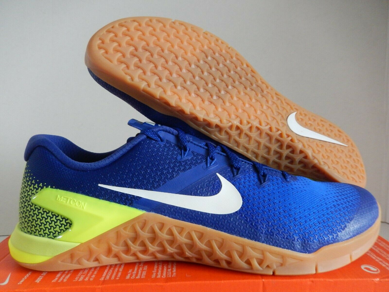 NIKE METCON 4 VOLT-WHITE-RACER blueE  WEIGHTLIFTING  SZ 15