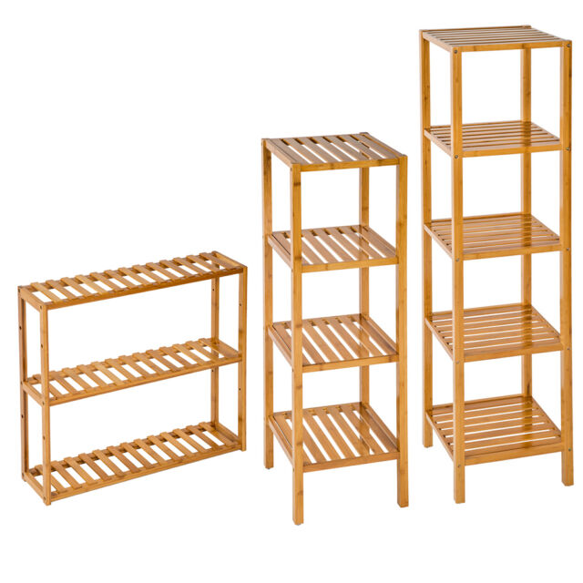 5 tier bamboo wooden kitchen bath bathroom shelf rack organiser unit rh ebay co uk bathroom towel rack shelf wall mounted luggage rack bathroom shelf