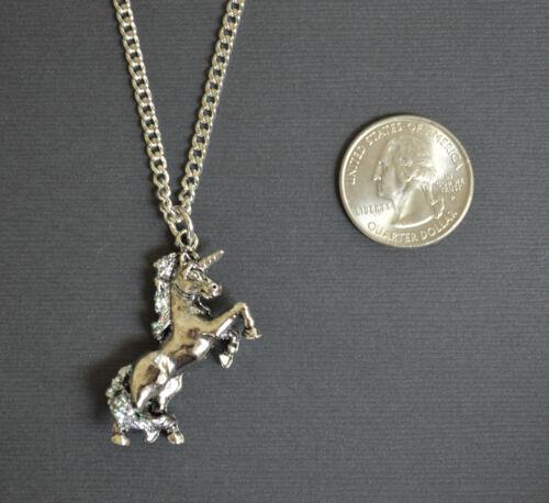 Unicorn Silver Finish with Glitter Enamel on Pewter Pendant Necklace NK-72GL