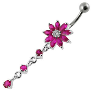 Gorgeous flower navel belly bar with pink gems double flower