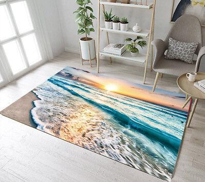 Sunset Beach Sea Wave Scenic Floor Rug