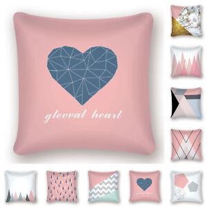 Rose Gold Throw Pillow Case Pink Geometric Sofa Waist Cushion Cover Bed Decor