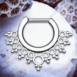 b00c8f01673c Image is loading Aya-TITANIUM-Septum-Piercing-Silver-Daith-Ring-Tribal-