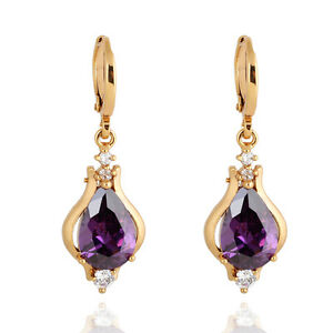 18K-Yellow-Gold-Plated-Red-Purple-Green-Stone-Teardrop-Hoop-Earrings-for-Women