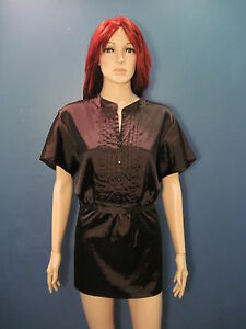 plus-size-1X-brown-Pleated-Front-Retro-style-collared-blouse-by-AB-STUDIO