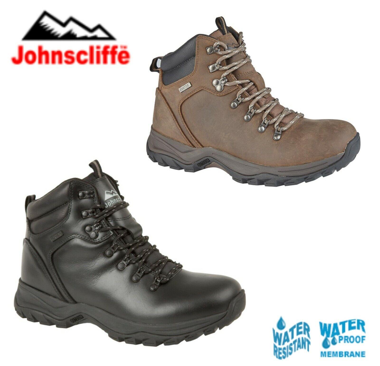 Johnscliffe Étanche braun Cuir schwarz Stiefel De Randonnée-Größes 6 7 8 9 10 11 12