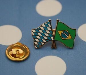 Freundschaftspin-Bayern-Brasilien-Pin-Badge-Button-Anstecker-Laenderpin-Sticker