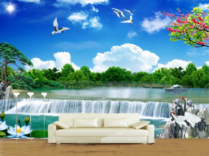 3D Natur Reiher Fluss  744 Tapete Wandgemälde Tapete Tapeten Bild Familie DE   Ich kann es nicht ablegen    Großartig    Qualifizierte Herstellung