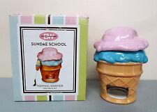 Boston Warehouse Sundae School Ceramic Ice Cream Topping Warmer w/ Spoon Set