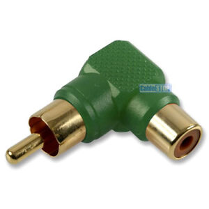 GREEN-RCA-PHONO-RIGHT-ANGLE-MALE-PLUG-TO-FEMALE-SOCKET-AUDIO-TV-CABLE-ADAPTER