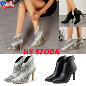 Womens-High-Stiletto-Heel-Zip-Ankle-Boots-Lady-Casual-Pointed-Toe-Party-Shoes-US