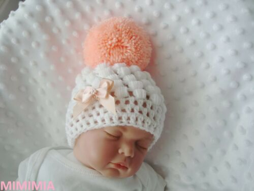 3-6 m baby crochet white pull on hat girl peach bows pompom tiny baby 2-3 lb