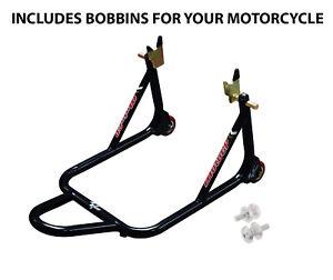 Black MGPSTD04 Moto GP Rear Motorcycle Premium Paddock Stand