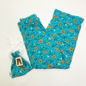 Details About Hello Mello Blue Reindeer Lounge Pants W Gift Tote Bag Womens New