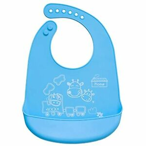 Waterproof Silicone Bibs,Easily Wipes Clean,Stay Open Food Pocket Catches All