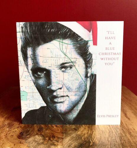 Blank Inside. 'Blue Christmas' Original Pen Drawing Elvis Christmas Card