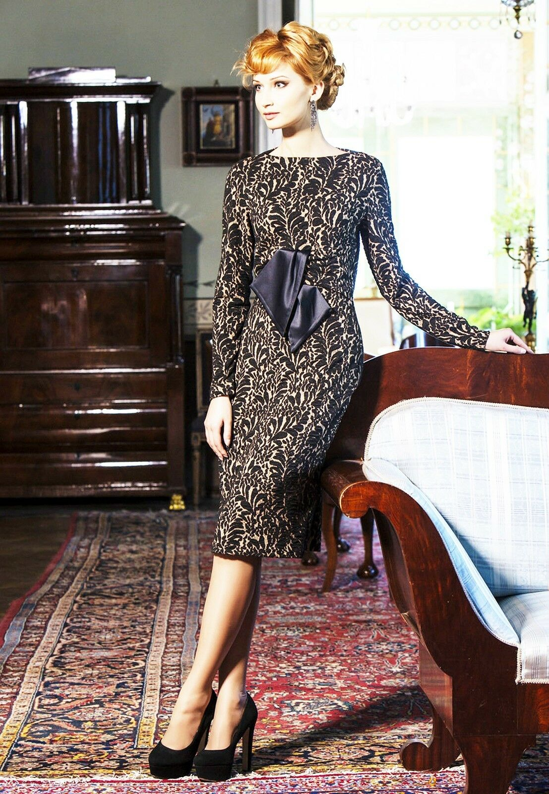 EUROPEAN PARTY DRESS STRETCH JACQUARD LONG SLEEVE ELEGANT BODYCON