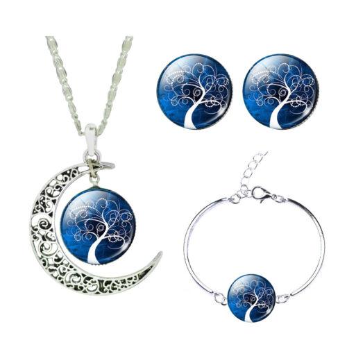 Blue White Winter Tree Jewellery Set Stud Earrings Moon Necklace Bracelet S900