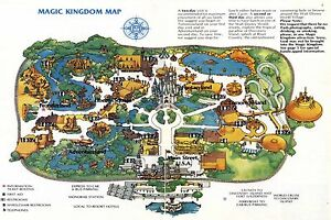 1981 Walt Disney World Map Reproduction Poster 24 X 36 Inches