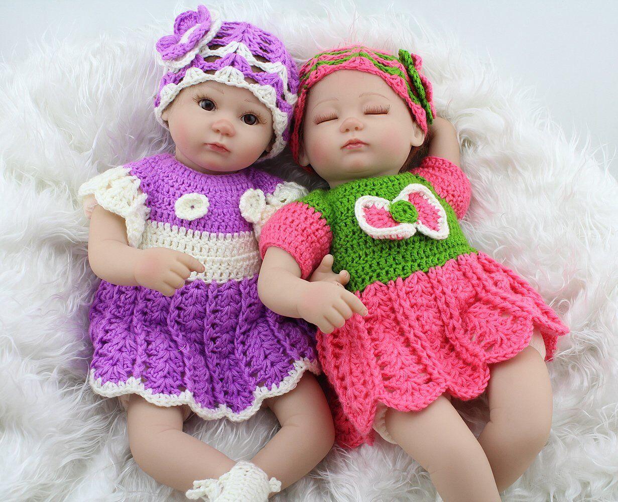 Una COPPIA BEBE 16  realistico Gemelli RINATO BABY BOY GIRL Handmade bambola vinile bambino